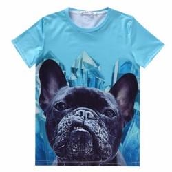 T-Shirt Bulldog Francese Blu