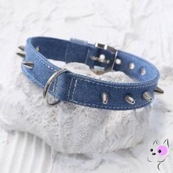 Malucchi Parure Collare + Guinzaglio Jeans con Borchie 2.5cm