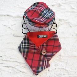 Croci Scarf and Cap Tartan Red